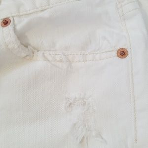 7 For All Mankind Jeans - 7FAMK White Distressed Flare Leg Jeans, 28